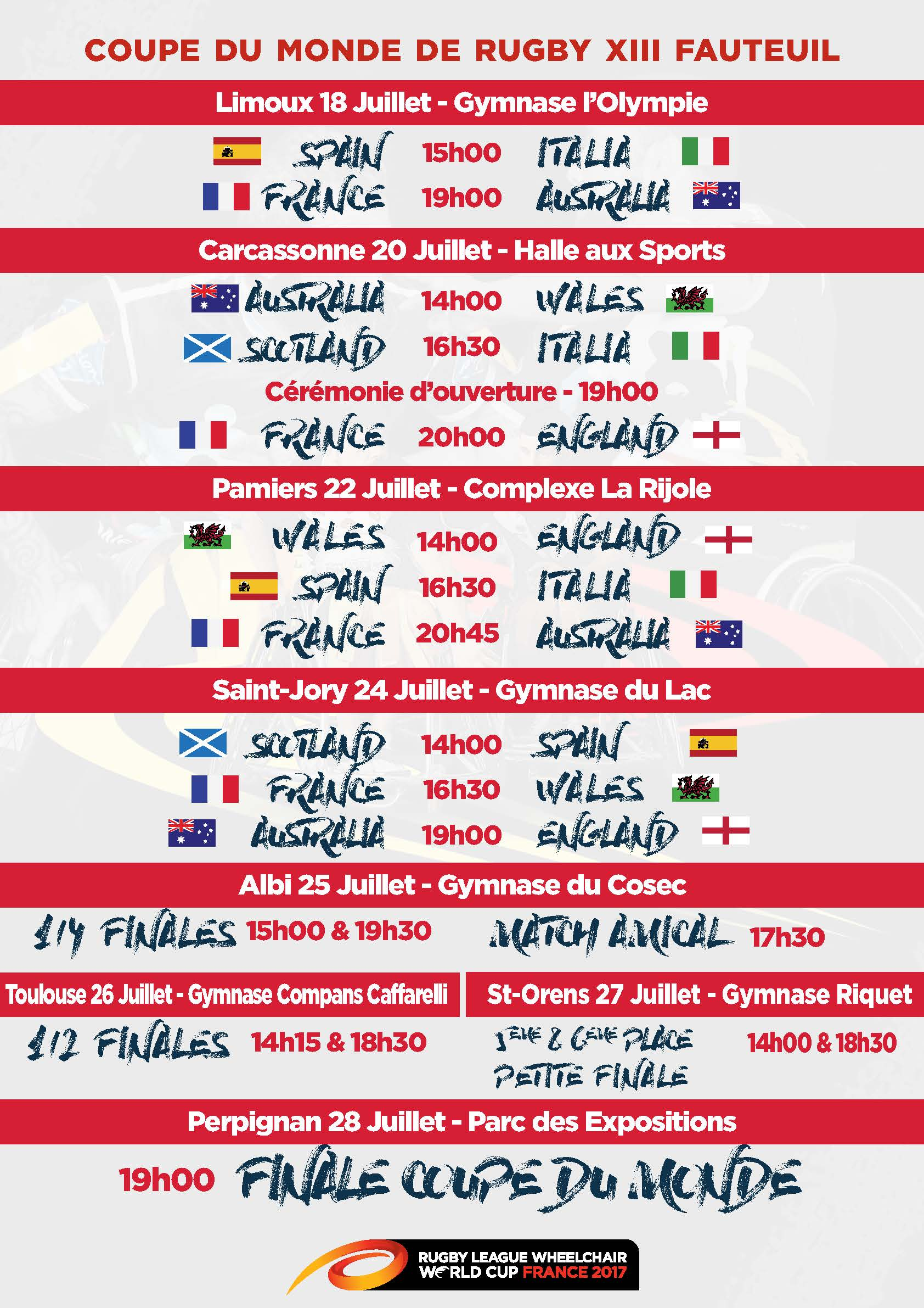 Coupe du monde rugby xiii fauteuil le programme f d ration fran aise de rugby xiii - Programme coupe de monde rugby ...