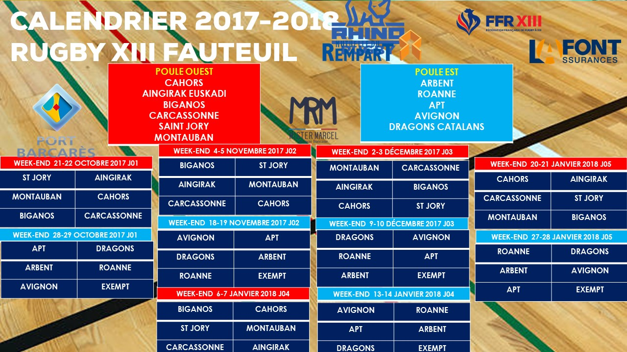 Calendrier championnat rugby xiii fauteuil 2017 2018 f d ration fran aise de rugby xiii - Calendrier coupe d europe de rugby ...