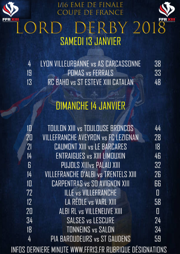 R sultats 1 16 me de finale coupe de france lord derby - Resultats coupe de france 2015 ...
