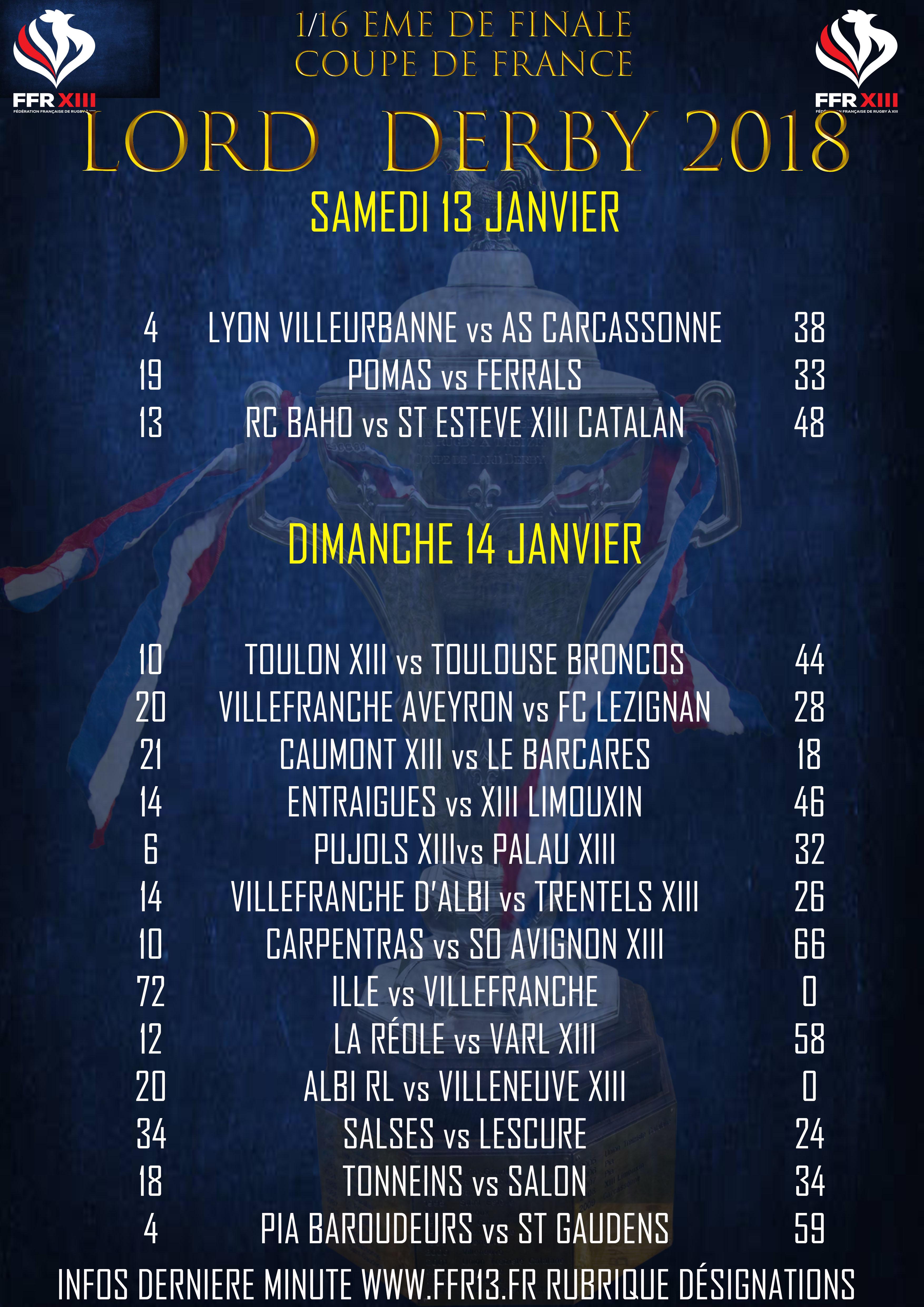 R sultats 1 16 me de finale coupe de france lord derby - Resultat 16eme de finale coupe de la ligue ...