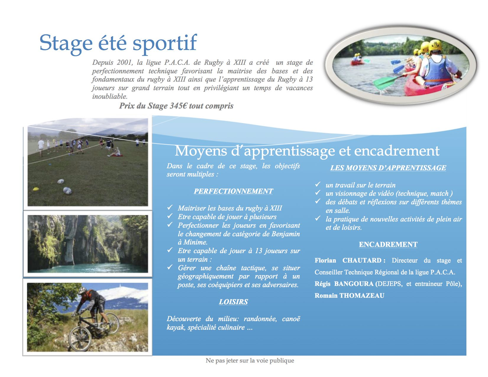 Stage Ete Sportif 2018 Federation Francaise De Rugby A Xiii