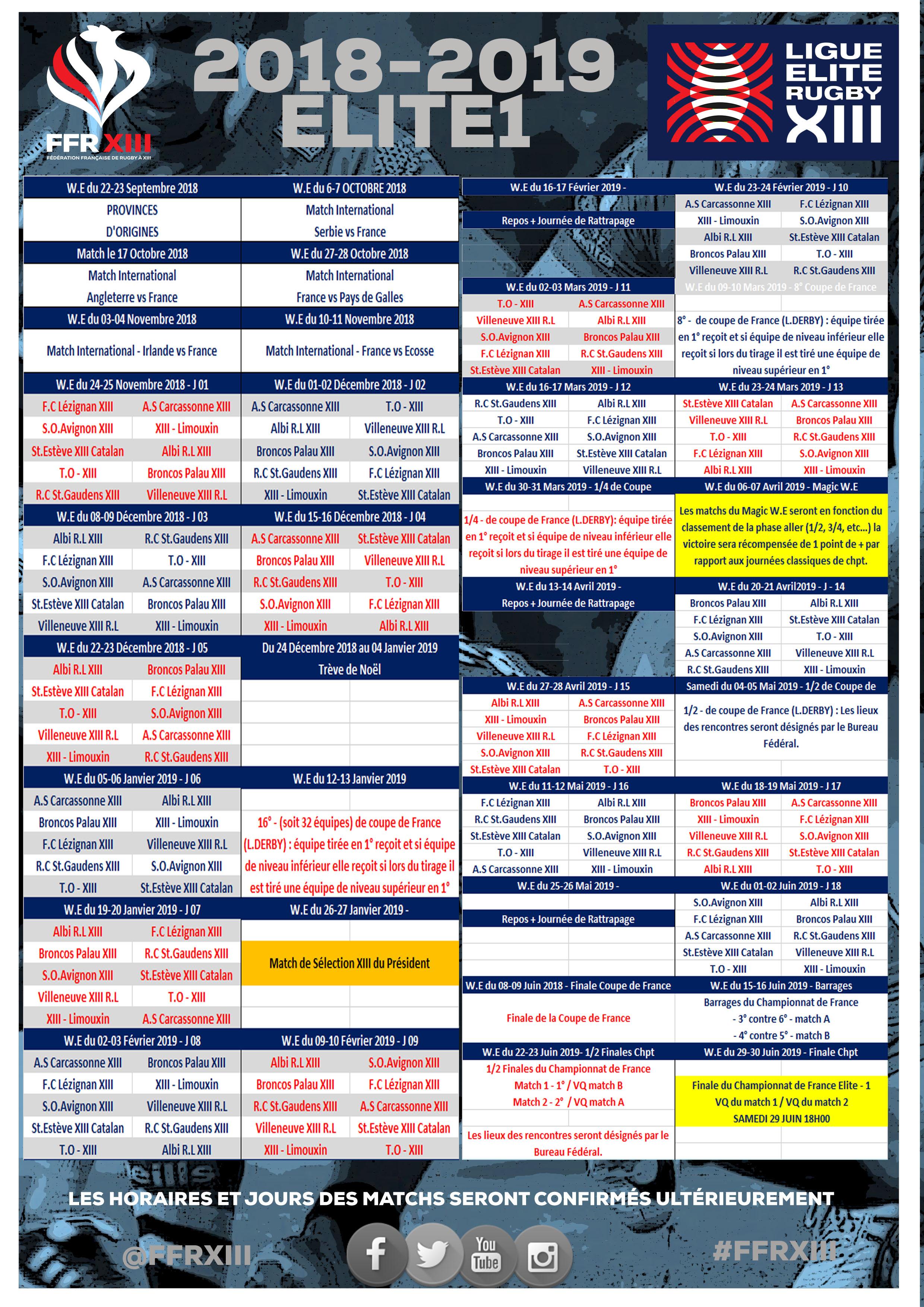 Coupe Du Monde Des Clubs 2020 Calendrier.Calendrier Elite 1 Saison 2018 2019 Federation Francaise