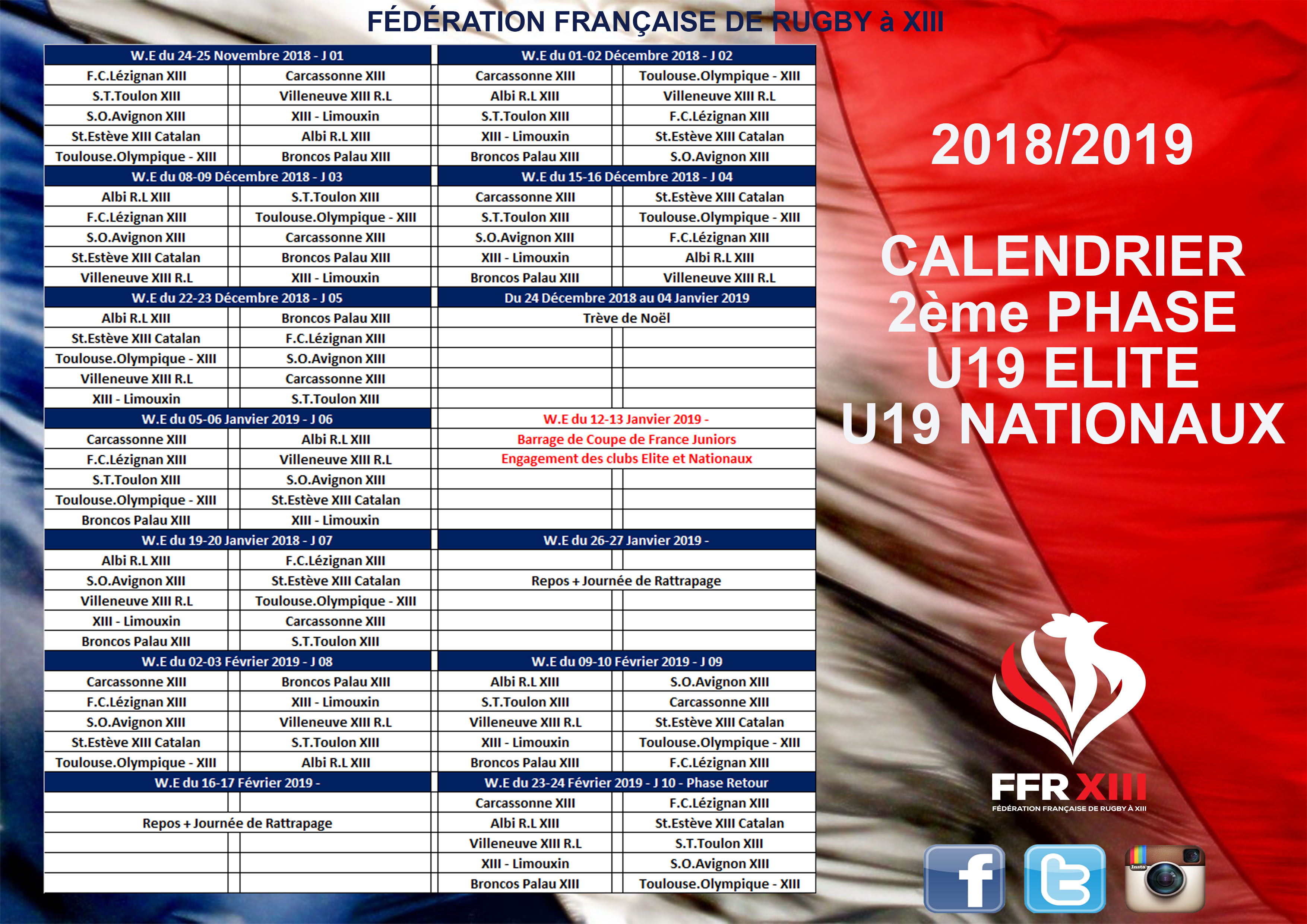 Coupe Du Monde Des Clubs 2020 Calendrier.Calendrier Phase 2 U19 Elite Nationaux Federation