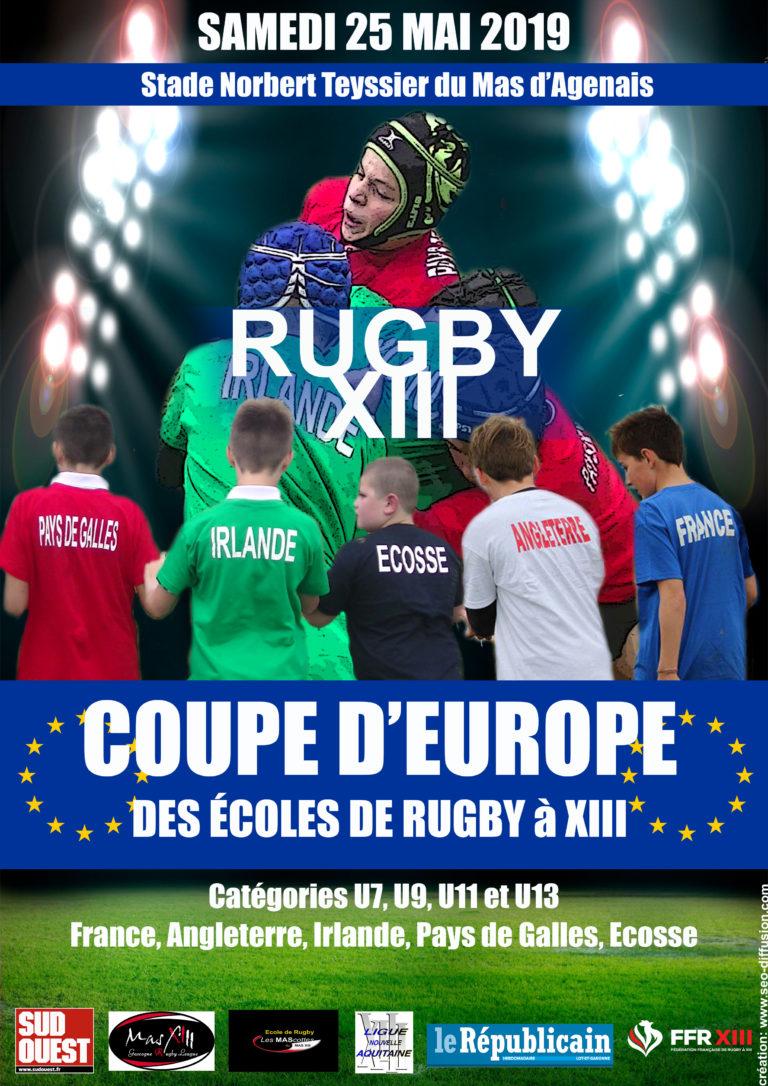 Après la 1ère « Coupe du Monde des Ecoles de Rugby à XIII» organisée en 2018, le Mas d'Agenais accueille cette fois-ci la « Coupe d'Europe » des Ecoles de Rugby à XIII !