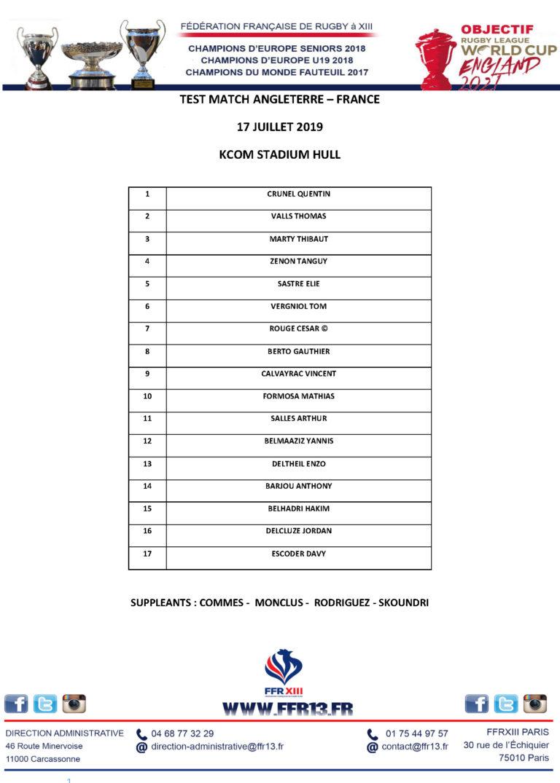 Composition du groupe France U17 contre l'Angleterre le 17 juillet
