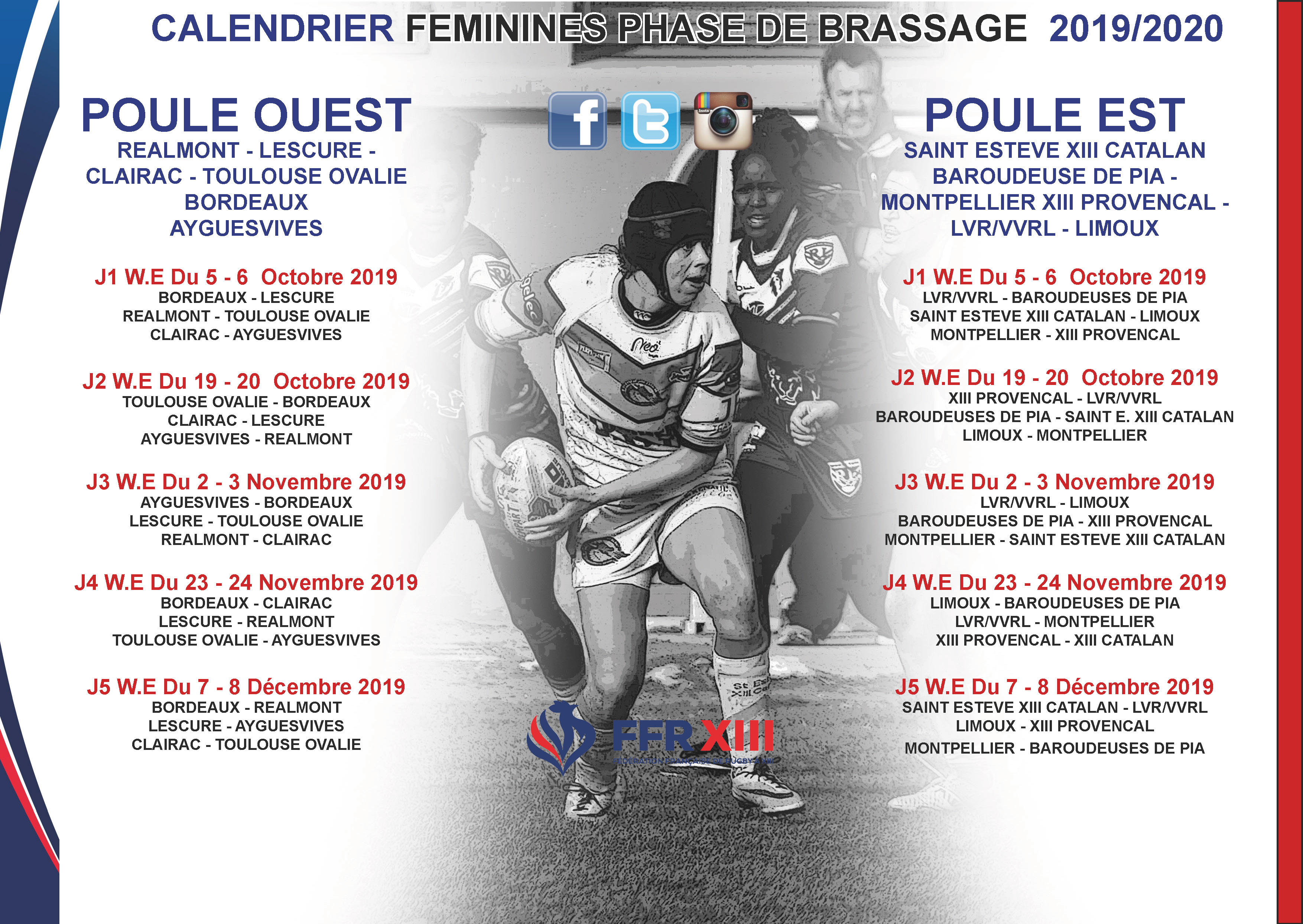 Calendrier 2020 Rugby.Les Calendriers Feminines Saison 2019 2020 Disponibles