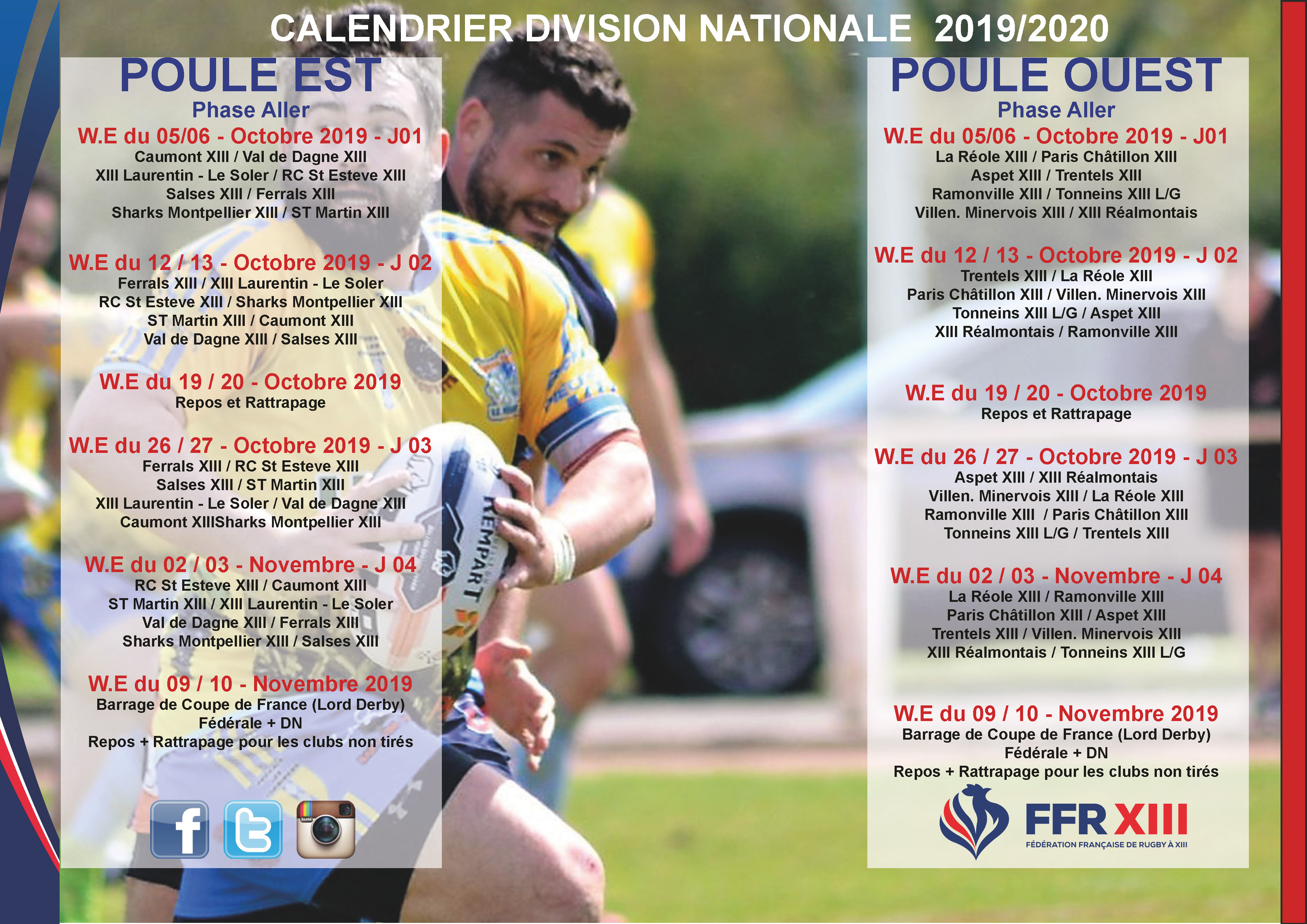 Calendrier 2020 Rugby.Le Calendrier Nationale 2019 2020 Est Disponible