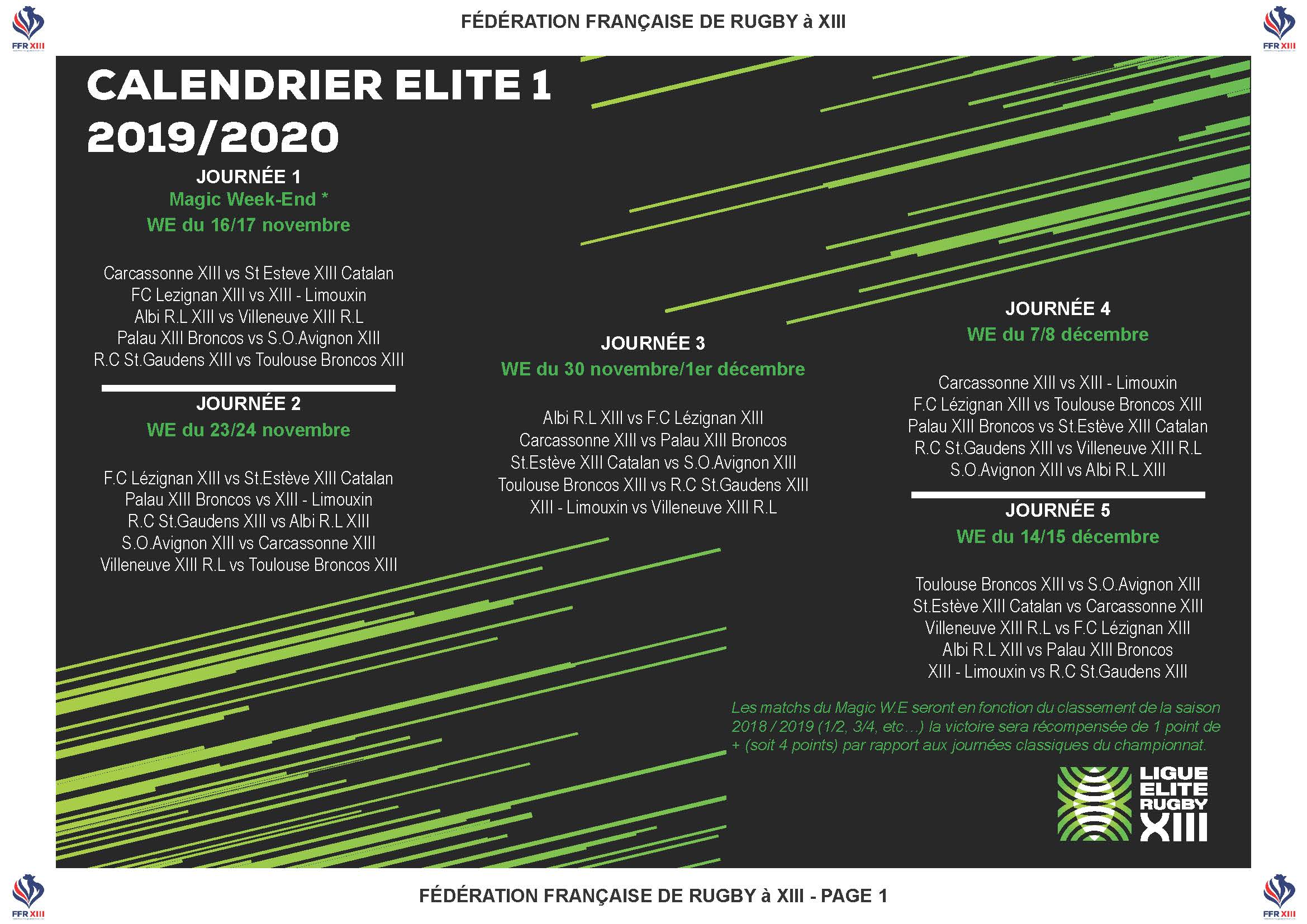 Calendrier Et Resultat Coupe Du Monde 2020.Calendrier 2019 2020 Pour L Elite 1 La Revanche Pour