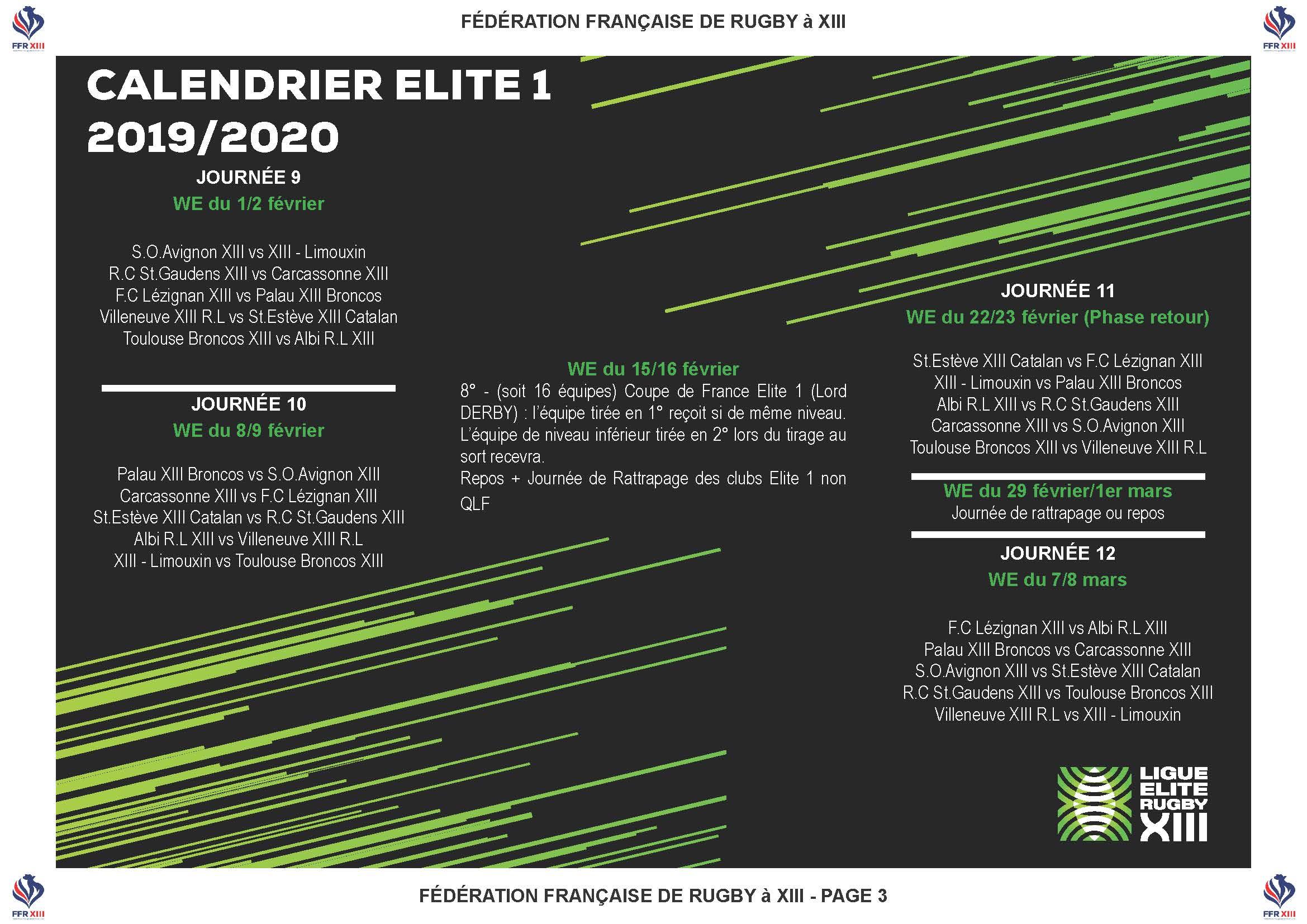 Calendrier Universitaire Toulouse 2.Calendrier 2019 2020 Pour L Elite 1 La Revanche Pour