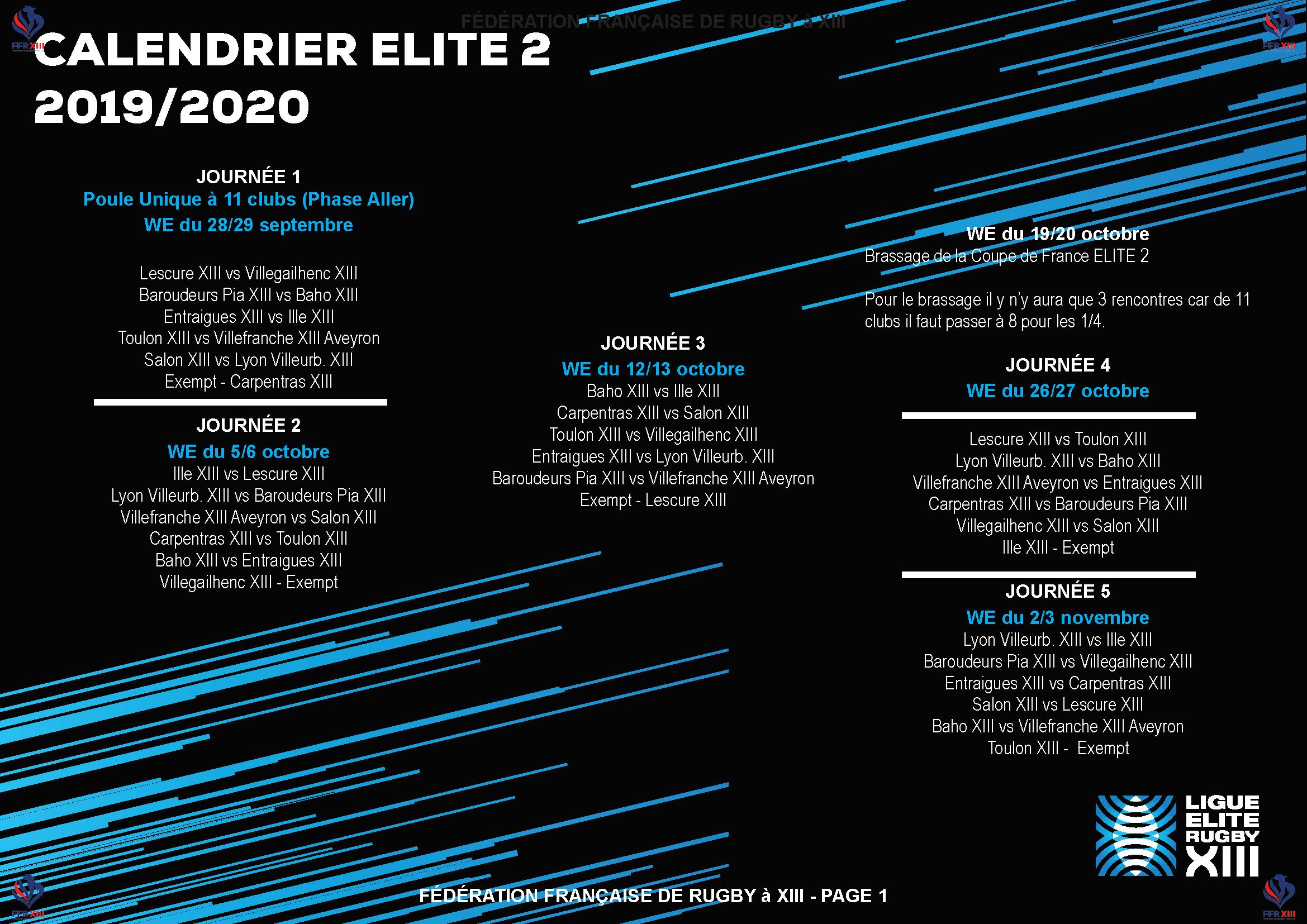 Coupe Du Monde Des Clubs 2020 Calendrier.Calendrier 2019 2020 Elite 2 Le Derby Pia Baho Au Coup D