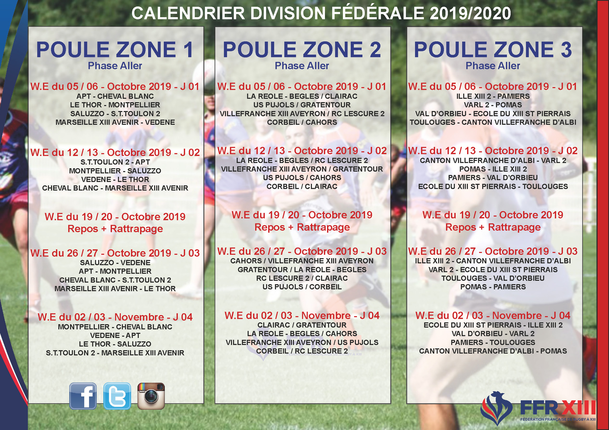 Calendrier 2020 Rugby.Le Calendrier Federale 2019 2020 Est Disponible Federation