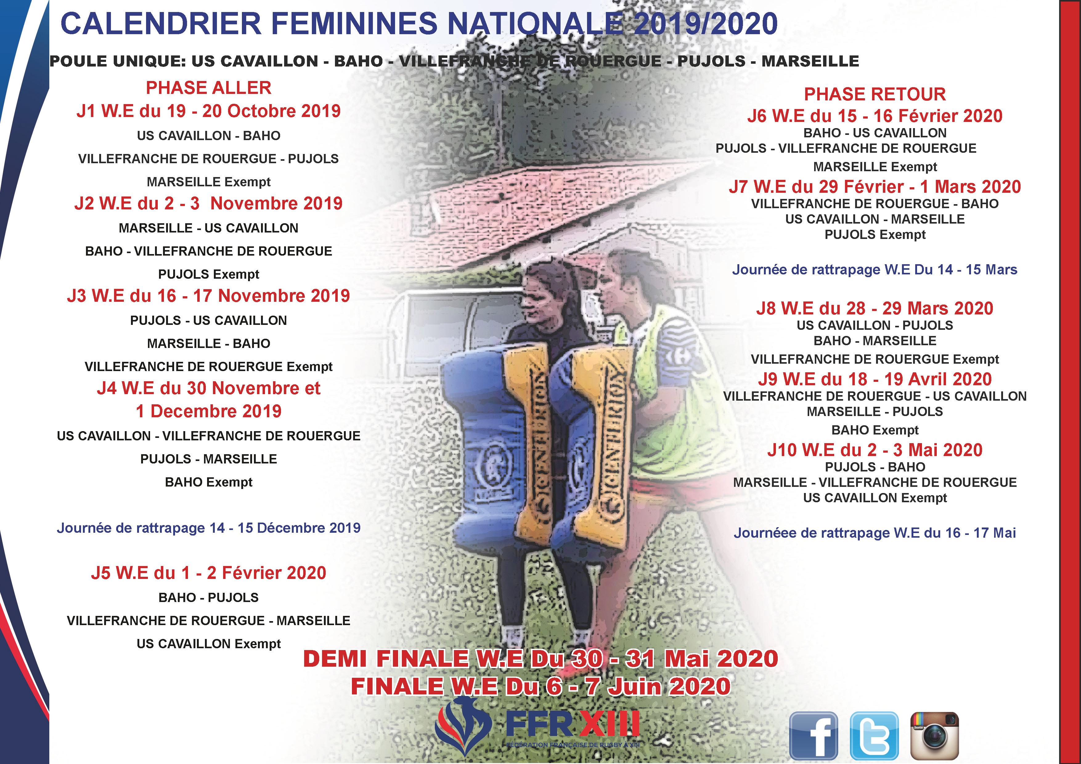 Calendrier Saison 2020.Les Calendriers Feminines Saison 2019 2020 Disponibles