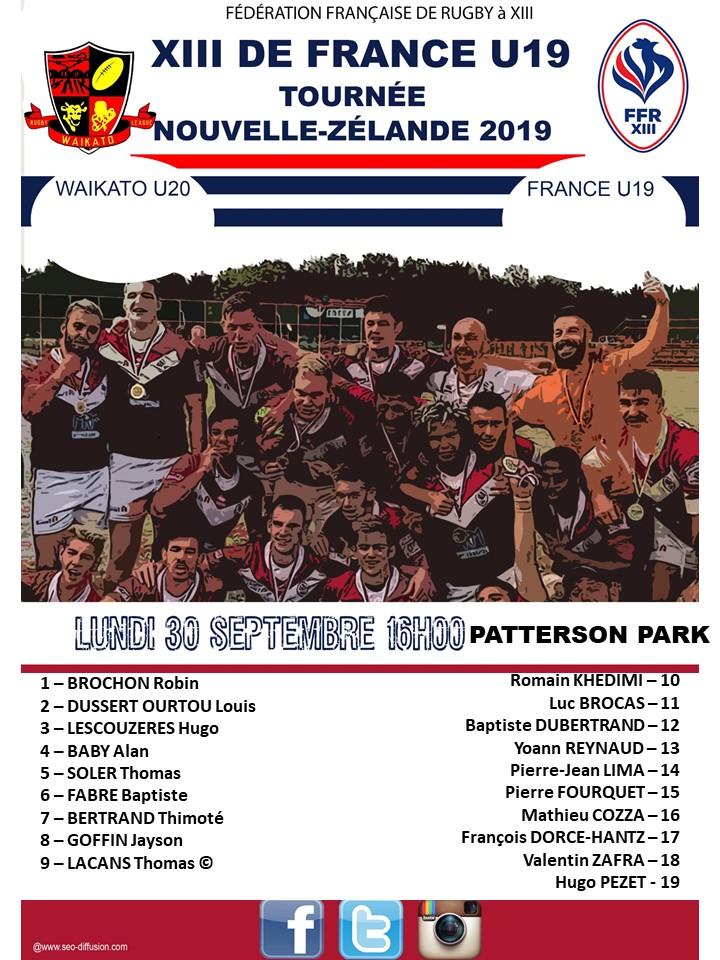 L'équipe U19 pour le match du lundi 30 septembre dévoilée (Tournée NZ 2019)